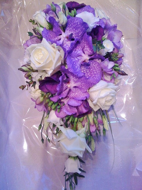 Teardrop with Orchids Wedding Flowers